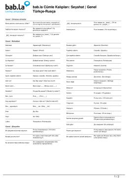 Cümle Kalıpları: Seyahat | Genel (Türkçe-Rusça)