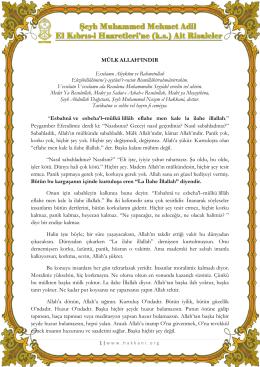MÜLK ALLAH`INDIR Esselamu Aleyküm ve Rahmetullah
