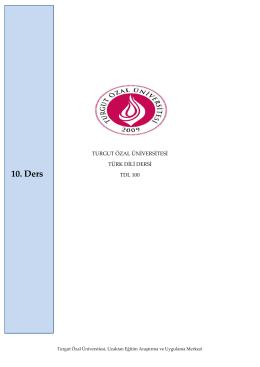 10. Ders - Turgut Özal Üniversitesi