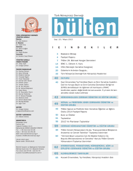Bülten No 33 - Mayıs 2015 - Türk Nöroşirürji Derneği