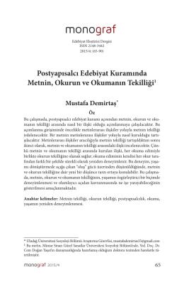 Postyapısalcı Edebiyat Kuramında Metnin, Okurun ve