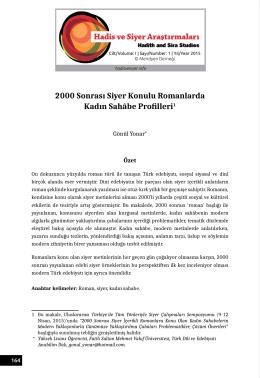 2000 Sonrası Siyer Konulu Romanlarda Kadın Sahâbe Profilleri