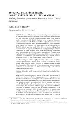 Türk Yazı Dillerinde İyelik İşaretleyicilerinin Kiplik