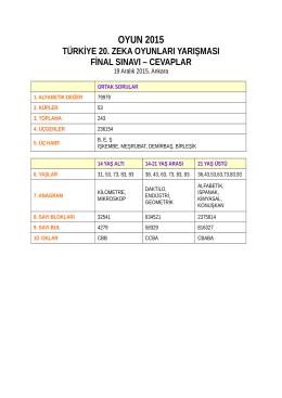 final sınavı cevapları - OYUN 2015 Türkiye 20. Zeka Oyunları