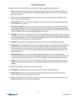 1 Kasım 2015 ITSF Hızlı Oyun Kuralları