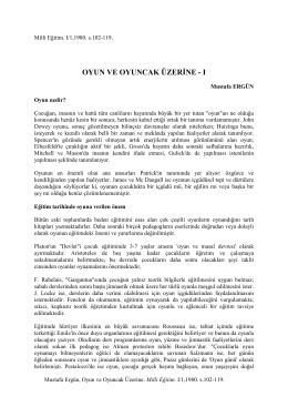 Oyun ve Oyuncak Üzerine - Prof.Dr. Mustafa Ergün