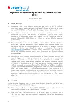 """paysafecard """"oyunlar"""" için Genel Kullanım Koşulları (GKK)"""