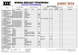 aylık program - Bursa Devlet Tiyatrosu