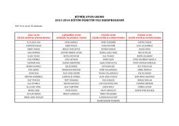 ritmik oyun grubu 2013-2014 eğitim öğretim yılı dersprogramı