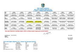 ÖZEL HALİÇ İLKOKULU 2015-2016 EĞİTİM