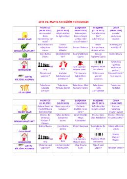 2015 yılı mayıs ayı eğitim porogramı