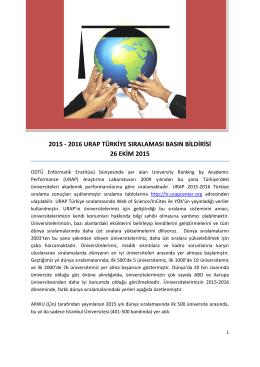 2015 - 2016 Urap Türkiye Sıralaması Basın Bildirisine ulaşmak için