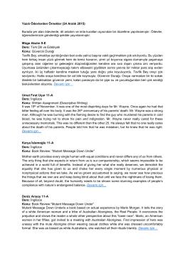 Yazılı Ödevlerden Örnekler (24 Aralık 2015) Burada yer alan