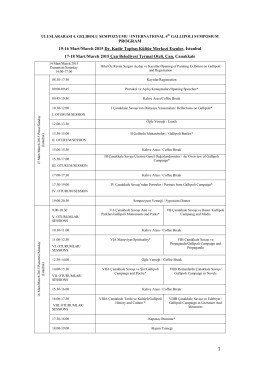 4. Uluslararası Gelibolu Sempozyumu Programı