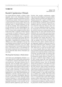 Kendi Çıpalarımız Olmalı - Finans Politik & Ekonomik Yorumlar Dergisi