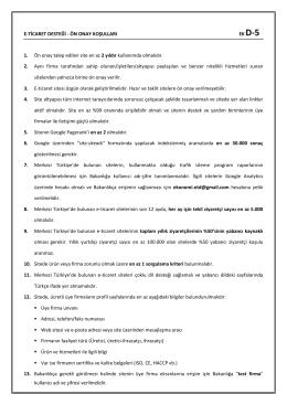 E-ticaret Sitesi Ön Onay Kriterleri