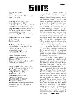 İki Aylık Şiir Dergisi 12 TL Temmuz-Ağustos 2015 Yıl: 5