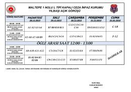 ÖĞLE ARASI SAAT 12:00 - 13:00 - maltepe 1 nolu l tipi kapalı ceza