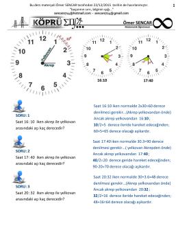 Saat 16:10 iken akrep ile yelkovan arasındaki açı kaç derecedir