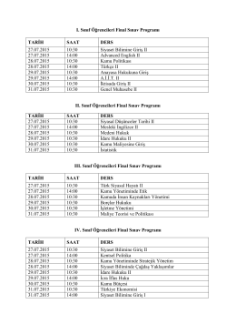 I. Sınıf Öğrencileri Final Sınav Programı TARİH SAAT DERS 27.07