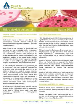 Mikrobiyoloji bülteni 28 Kasım 2015