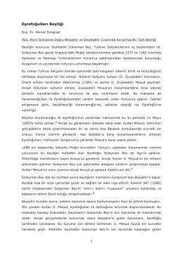 Eşrefoğulları Beyliği - Prof. Dr. AHMET ŞİMŞİRGİL