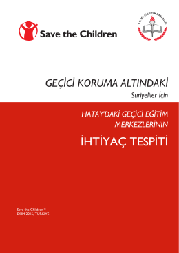 İHTİYAÇ TESPİTİ - Save the Children