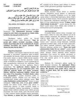 22.05.2015 İslam`da Tevekkül Anlayışı
