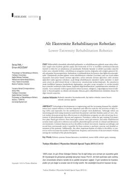 (2015). Alt Ekstremite Rehabilitasyon Robotları