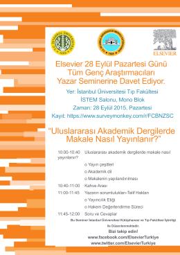 Yer: İstanbul Üniversitesi Tıp Fakültesi İSTEM Salonu, Mono Blok