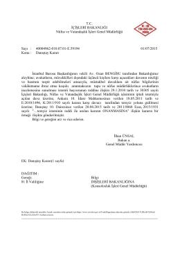 Danıştay Kararı - Nüfus ve Vatandaşlık İşleri Genel Müdürlüğü
