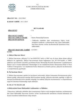 2015/9965 - Hakkında Yürütülen İdari Soruşturmaya İlişkin Evrak