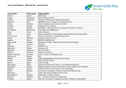List of participants - ERA-Net Smart Grids Plus initiative