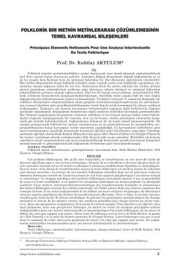 folklorik bir metnin metinlerarası çözümlemesinin temel