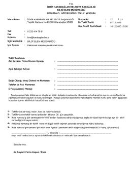 Dosya No 77 13 / Son Teklif Tarih/Saati 10/12/2015 İlgili Müdürlük