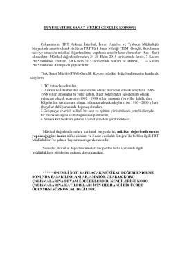 TSM Gençlik Korosu - TRT Müzik Dairesi Başkanlığı