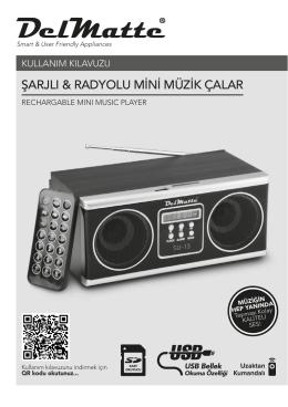 şarjlı & radyolu mini müzik çalar - Delmatte