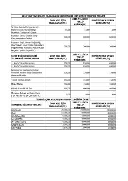 2015 Yılı Yazı İşleri Müdürlüğü Hizmetleri Ücret Tarifesi