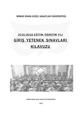2015-2016 msgsü özel yetenek sınavları kılavuzu