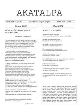 Şubat 2015 - Sayı 182 Aylık Şiir ve Eleştiri Dergisi ISSN