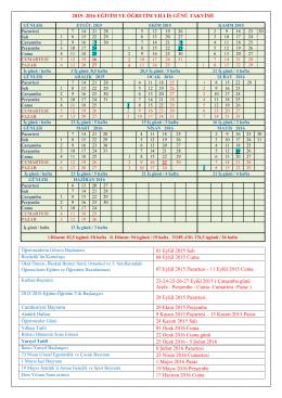 2015-2016 eğitim öğretim yılı iş günü takvimi