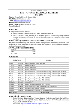 D ers İ zlencesi END 117: TEMEL BİLGİSAYAR BİLİMLERİ Güz 2015