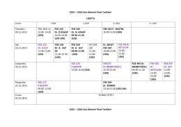 2015 – 2016 Güz Dönemi Final Tarihleri I.HAFTA 2015 – 2016 Güz