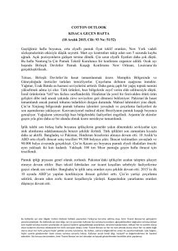 COTTON OUTLOOK KISACA GEÇEN HAFTA (18 Aralık 2015, Cilt