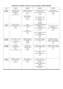 BANKACILIK ve FİNANS I. Hafta Sınav Programı (ÖRGÜN ve İKİNCİ