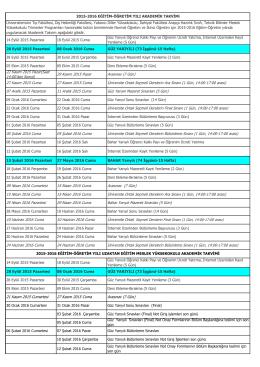 2014-2015 Akademik Takvimi