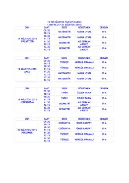 12 TM AĞUSTOS YGS/LYS KURSU 1.HAFTA (17