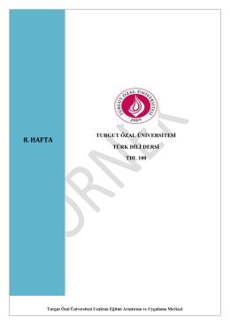 8. HAFTA - Turgut Özal Üniversitesi