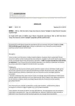 2015 / 51 İstanbul,24.12.2015 KONU : 459 ve 464 Sıra No`lu Vergi