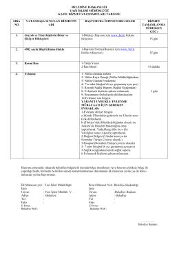 belediye başkanlığı yazı işleri müdürlüğü kamu hizmet standartları